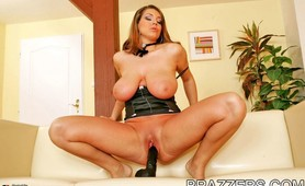 April playing her enormous juggs and black dildo