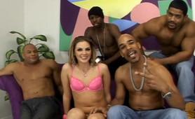 Multiple black dicks pump every hole of a vanilla white bitch