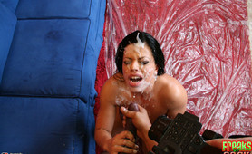 Sexy Alexandra strips and monster cock fucked