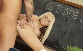 Horny tattooed blonde schoolgirl bends over and takes a cock