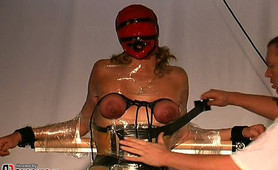 Sometimes I like to place a mask over my slaves face as part of her breast bondage session.