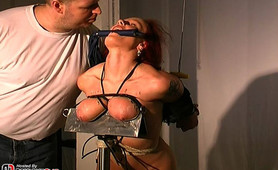 Sometimes I like to make my slave get on her knees during her breast bondage session.