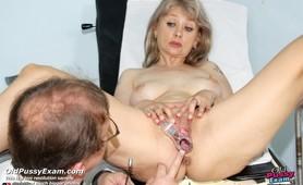 Mature Alena takes pussy enema during mature gyno exam
