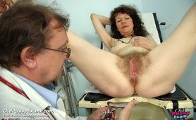 Gyno doctor examines mature woman Karla with very hairy pussy