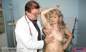 Older woman Alena gets pussy speculum examined at gyno clinic