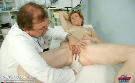 Old lady Mila experiences strange gyno treatment by kinky doctor Tim