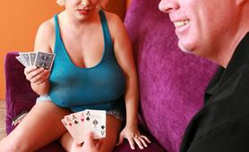 After loosing a card game big tit M.I.L.F Claudia-Marie sucks cock