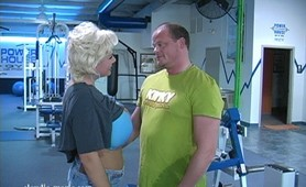 One day when Claudia's workout was running late, Andrew infromed her that the gym was closing. But Claudia is not ready is not done with her workout yet, and Andrew gives her and her huge tits a workout she will never forget.