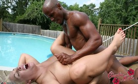 Claudia-Marie decided to fuck the black pool boy that her husband hired and got an interracial creampie in her shaved milf pussy