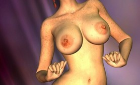 Fiery redheaded 3D sweetie Misty showing big round tits and jumping Adam's massive cock