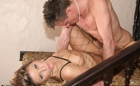 A dirty blonde dick lover is ass fucked and facialised