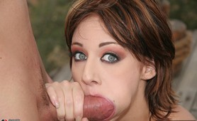 A blue eyed sex kitten tackles two cocks in this anal scene