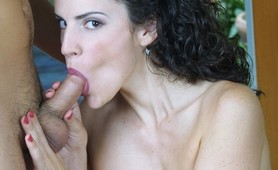 Horny babe sucking cock and swallowing cum