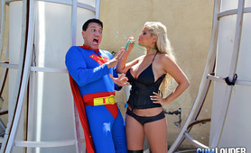 Blonde whore doing Superman