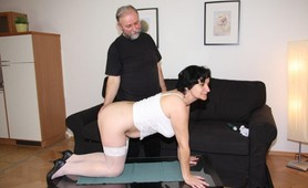 Young man and old guy fuck a granny slut
