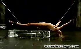 Roped fetish bitch gets severe water bondage