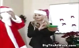 Santa gets a big tits holiday treat