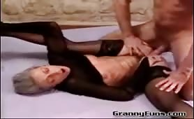 Granny fisted and fucked by younger couple