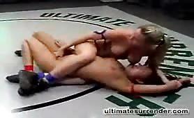 Lesbian wrestling cuties tough fight