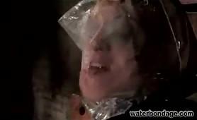 Sexy high heeled slave water tortured