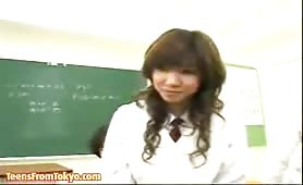 Japanese teenie girl fucked by several students