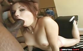 Baby-faced slut drains three huge black cocks