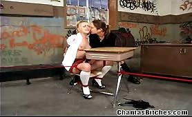 Hogtied hot blonde slave strap on fucked