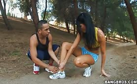 Hot Milf works out her pussy after jogging