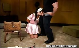 Naughty maid gets fucked and bound