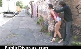 Brunette whore street cock sucking and fucking