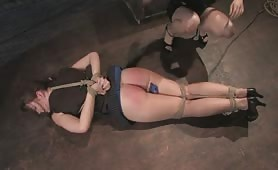 Slave tortured and fucked by a huge strapon