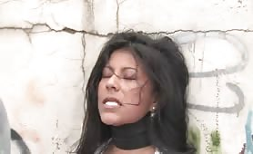 All natural Latin babe dominated and used in public