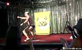 Dancing Bear Blasts Cum on Hot Girls in a Bar