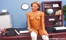 Ebony young teen fucks her principal