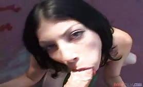 Pretty latin girl sucks the cameraman's dick