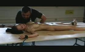 Asian slavegirl Ange hot waxing torments