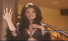 Cute Tera Patrick behind the scene of black lingerie shoot