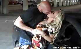 We are spending the day with Holly Halston, one of the top pornstars in the industry. And what better way to see what kind of kinky stuff she likes to do than to go with her and Johnny Sins to the movies for some exhibitionism and some fooling around in p