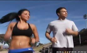 Rocco and his friend spot Audrey running on the track. Audrey's big tits were bouncing all over the place and Rocco couldn't take it anymore. He goes to talk to her and is very surprised to find out how Audrey reacts when  a guy compliments her tits...