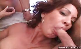 3 Dicks Hammering A Nasty MILF During GangBang Action