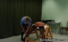 Elite fetish slave spanked in the ass