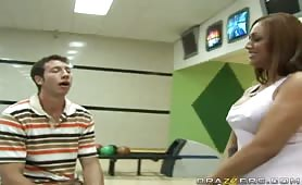 Ice la Fox challenged her bowling instructor Jordan to a quick game. She is very competitive and wants to win no matter what. Knowing that Jordan is dying to see her big juicy tits, she flashes him during the game to make him lose his concentration. In th