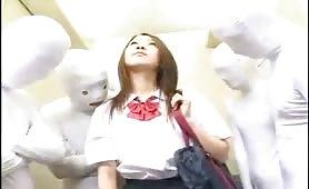 Teen schoolgirl ghost elevator gangbang