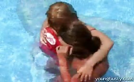 Teen poolside fucked with Big wet tits