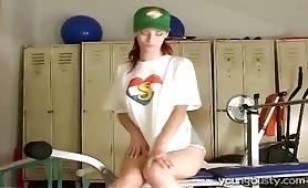 Girl masturbating at the gym