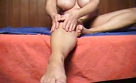 Big natural melon tits Milf massages herself