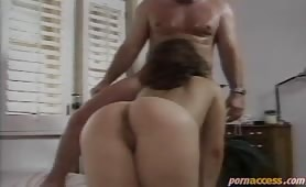 Beautiful brunette takes a huge dick in her ass, her pussy and finally she sucks all the sperm out of it.