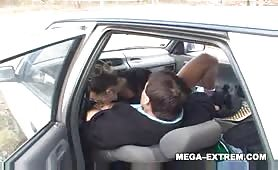 Naughty couple public car sex