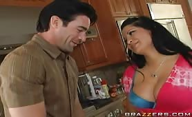 Beautiful brunette bigtits mommy kitchen fucked
