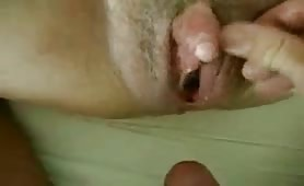 Giant clit gets drilled by cock ringed dude
